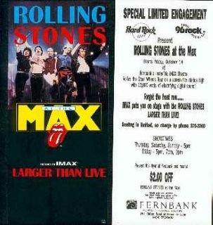 Stones 1994 Handbill Steel Wheels Tour Film Imax Theater Atlanta, GA