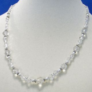 Austrian Clear Crystal White Glass Pearl 17 Artisan Necklace