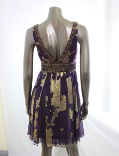 Sue Wong New Purple Womens Sequin Gold Pleated Overlay Empire Waist