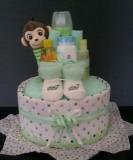 Baby Shower Favor and Diaper Cake Set in Green