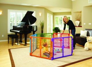 states color superyard baby pet gate portable play yard 6 panel 8769