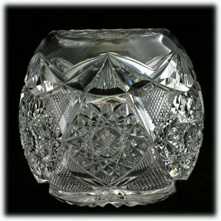 American Brilliant Cut Glass Rose Bowl Antique Crystal Hobstars Fine
