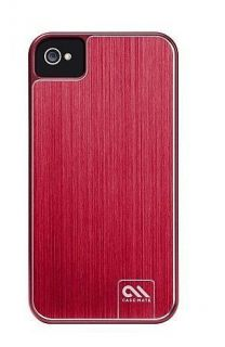 Case Mate Barely There Brushed Aluminum Case for iPhone 4 4S Red