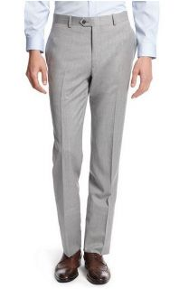 NWT $495 Bar III Slim Fit Mens Pearl Gray Stepweave Wool Suit 38S,42L