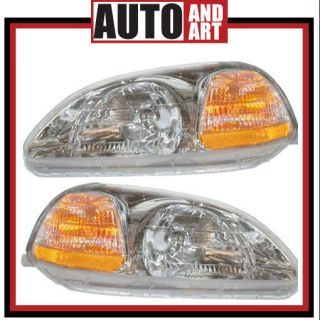 New Pair Set Headlight Headlamp Lens Housing Assembly SAE DOT 96 98