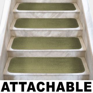 Set of 12 ATTACHABLE Carpet Stair Treads 8x23.5 OLIVE GREEN runner