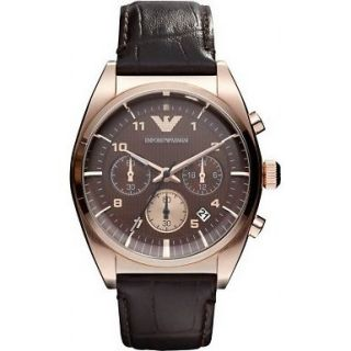 MENS BRAND NEW EMPORIO ARMANI FRANCO ROSE GOLD CHRONOGRAPH WATCH