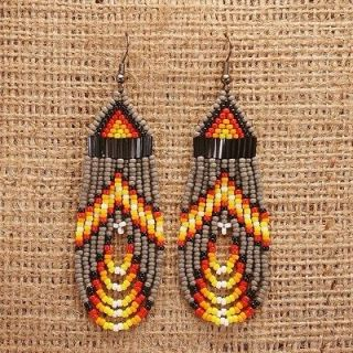 MASKED WHITE WOLF   Native American Style Beaded Earrings Bohemian