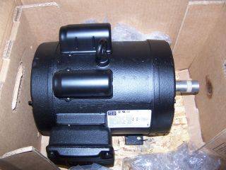 NEW WEG 5 HP ELECTRIC MOTOR 1 PHASE 208/230 VAC 184T FRAME 1745 RPM