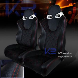2X BLACK SUDED RED LINE LEATHER RACING SEATS CIVIC ACCORD HONDA