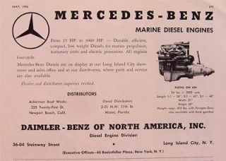 1956 mercedes benz model om636 marine diesel engine ad time
