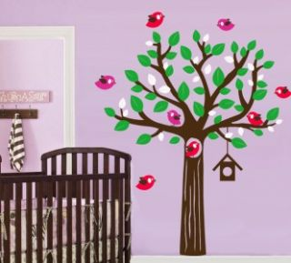 Tree Decal with Flock of Birds and Bird House   Children Nursery Wall