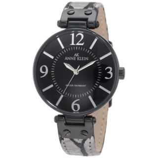 AK Anne Klein Womens 10 9169BKSI Black Ion Plated Leather Watch