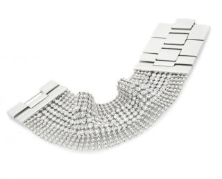 Justine Simmons Jewelry Clear Crystal Mesh Bracelet  Silvertone