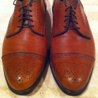 ALLEN EDMONDS MENS SANFORD LACE UP OXFORD WALNUT LEATHER 9 D MINT