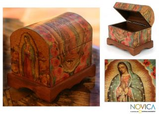 Virgin of Guadalupe Art Decoupage Jewelry Box Chest New