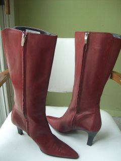 Anne Klein Womens Shoes Knee Boots Red Leather Sz 8 M