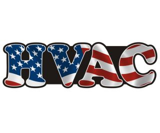 HVAC American Flag USA Hard Hat Car Truck Vinyl Bumper Sticker Decal