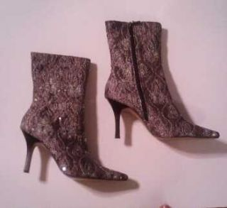 Anne Michelle Sequined Gold Silver Purple Accent Boots Sz 9