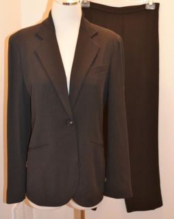 Anne Klein Womens Brown Wool Viscose Pant Suit Size 8