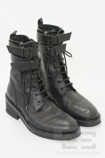 Ann DEMEULEMEESTER Black Leather Double Buckle Lace Up Flat Boots Size