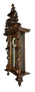 Gorgeous Antique German Black Forest Junghans 3 Horses Wall Clock at