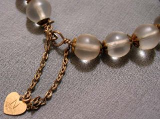 Antique Vtg Camphor Glass Art Deco Bead Brass Coil Wrap Bracelet w