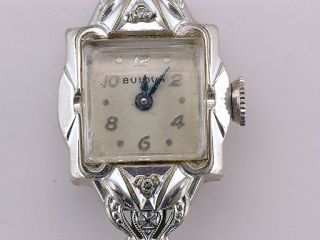 Vintage Antique Bulova Genuine Diamond White Gold Ladies Wrist Watch