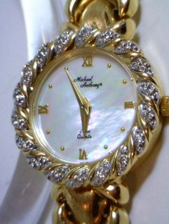 GORGEOUS 14KT YELLOW GOLD DIAMONDS WATCH LADIES MICHAEL ANTHONY