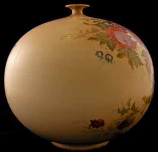 Antique German Porcelain Vase Art Nouveau Hand Painted and Gilded