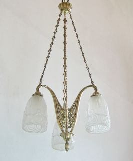 VINCENT  FRENCH 1925 ART DECO CHANDELIER bronze  muller era