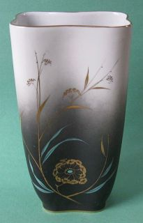 Art Deco Stockmayer Gold Chinese Cattail Vintage Porcelain Asian Vase