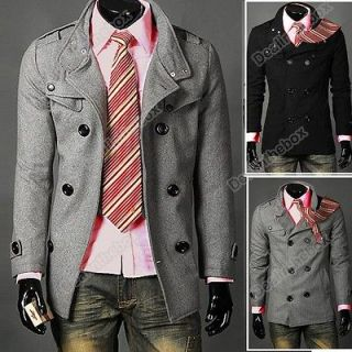 Men Slim Design Coat Jacket Hot Stylish Woolen Jacket Double Pea