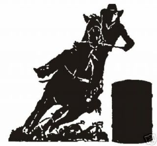 Barrel Racer Decal 8 x 8 1 2 Large White