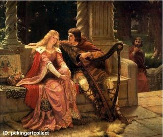 Modern Hot Art Oil Painting Tristan and Isolde Edmund Blair Leighton