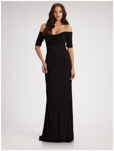 Badgley Mischka Collection Off Shoulder Ruched Jersey Formal Gown