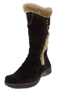 Bare Traps Elister Brown Suede Faux Fur Mid Calf Casual Boots Shoes R8