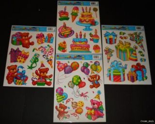 Lot of 6 Happy Birthday Vinyl Window Clings Laser Glitter Decoration