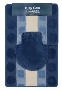Stripes Navy Smoke 3 Piece Bathroom Shower Ensemble Bath Rug Set