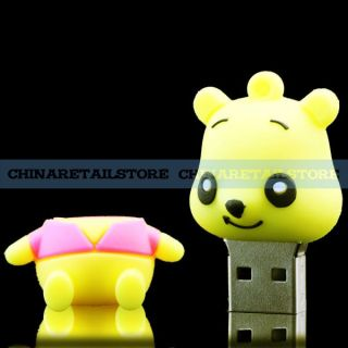 Top New Rubber Yellow Bear Shape 8GB USB Flash Memory Pen Drive Thumb