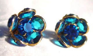 Vintage Capri Blue Bezel Set Crystal Rhinestone Flower Earrings Fjt