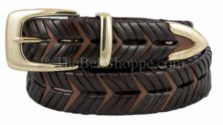 Canterbury Mens Brown Braided Leather Belt Size 34 Brass Buckle