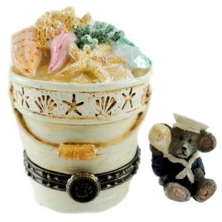 Boyds Bears Resin Bethanys Beach Pail with Shelly 4026248 Treasure