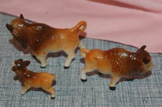 Vintage Buffalo Bison Family 3 Miniature Bone China Tiny Statue