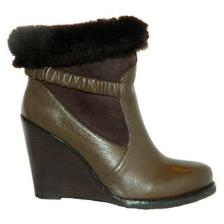 Biviel Grizzle Ankle Wedge Boots with Fur Cuff Size 38