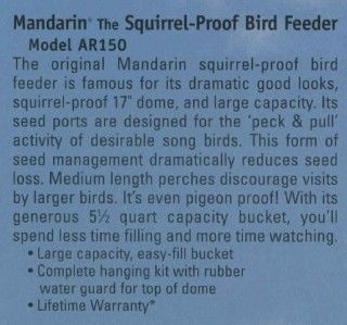new mandarin squirrel proof bird feeder