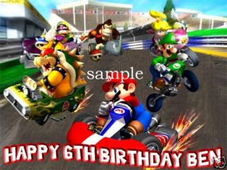 Mario Kart Edible Birthday Cake Image Icing Topper Wii
