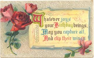 1913 Antique Postcard Birthday Wishes Poem and Roses