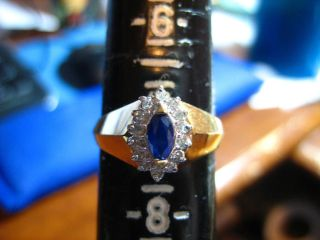 Vintage Marquise Blue Sapphire Diamond Birthstone Ring Size 7