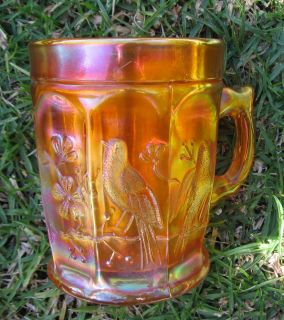 Northwood Singing Birds Marigold Carnival Glass Mug 1908